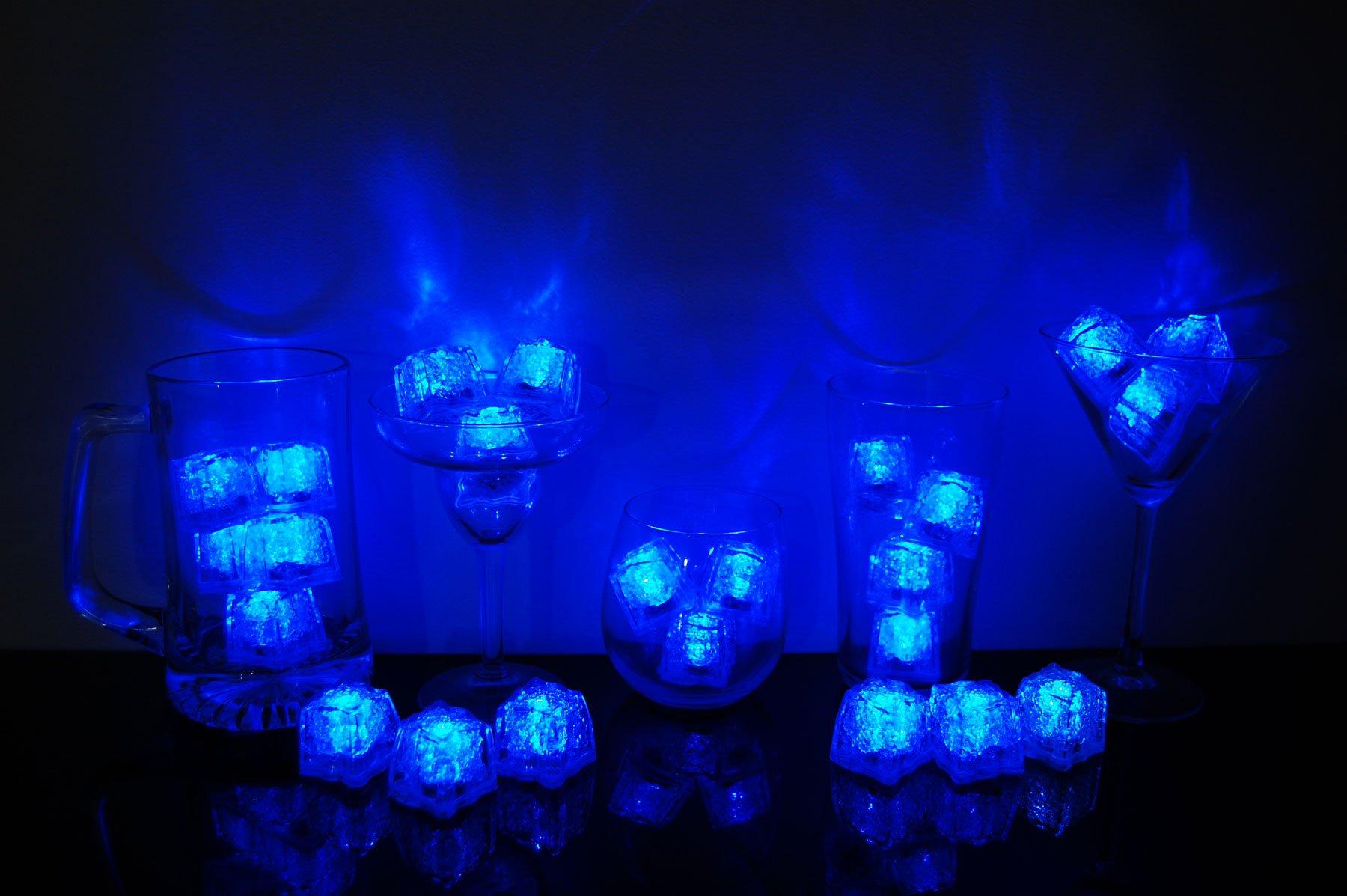 Litecubes Brand 3 Mode Blue Light up LED Ice Cubes (24)