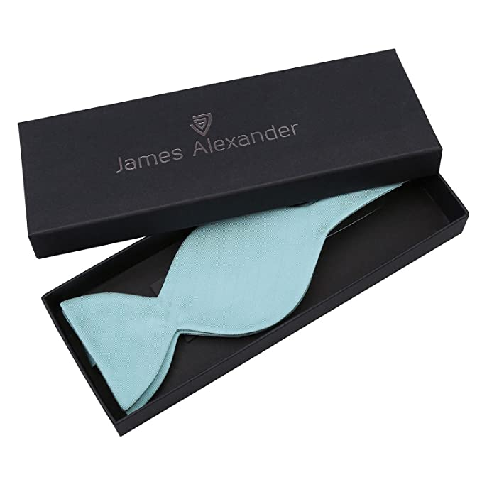 17877c46302e James Alexander Premium Plain Herringbone Silk Aqua Men's Formal Casual  Business Wedding Tuxedo Butterfly Self Tie Bow Tie: Amazon.co.uk: Clothing