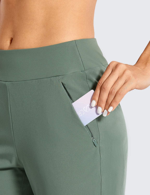 CRZ YOGA Womens Sweatpants Double-Layer Joggers Pants Side Pockets with Zipper Elasticity Waist