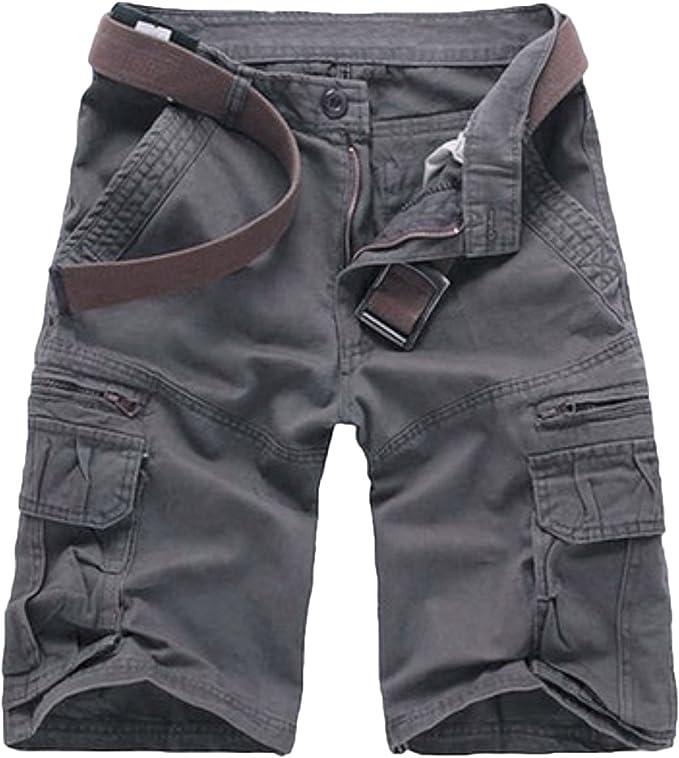 Elonglin - Pantalón corto para hombre, diseño de Bermudas Cargo para exterior, algodón, estilo casual, para verano, para exteriores, estilo vintage, bermuda