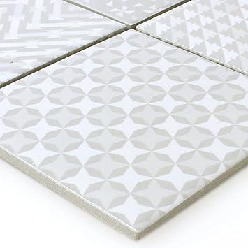 Keramik Mosaik Fliesen Zement Optik Geo Grau