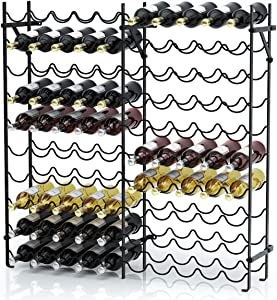 Giantex 100 Bottle Wine Rack Wine Bottle Display Shelves 10 Tier Metal Stackable Stand Wobbly-Free Wine Bottle Holder Organizer for Home, Bar, Wine Cellar, Basement