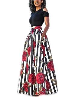 57ff9c787bcb carinacoco Donna Vestiti Lunghi Due Pezzi Senza Spalline Manica Corta  Camicetta + Rosa Stampa Gonne Lungo