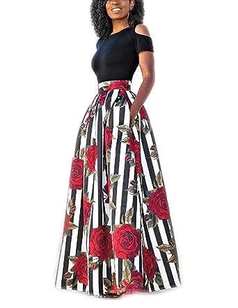 carinacoco Donna Vestiti Lunghi Due Pezzi Senza Spalline Manica Corta  Camicetta + Rosa Stampa Gonne Lungo Elegante Vestito Abito Maxi da Sera   Amazon.it  ... e951b714427