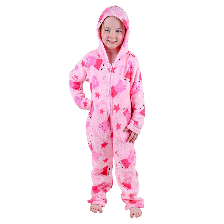 Platinum Girls Fairisle Design Hooded Fleece Onesie Pink