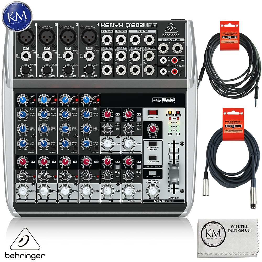 Behringer XENYX Q1202USB - 12 Input / 2 Bus USB Audio Mixer + 1 x 20ft Structure XLR Cable + 1 x 18.6 ft Strukture Instrument Cable + K&M Micro Fiber Cloth Bundle