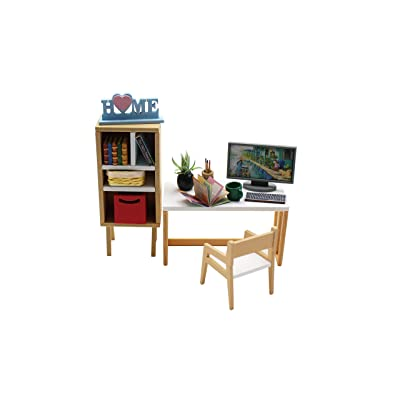 1:18 Cool Beans Boutique Miniature Dollhouse Furniture DIY Kit – Workstation Set with Computer, Desk, Chair, and Bookcase – 1:18 Scale Miniature Furniture (English Manual) 1181035: Toys & Games