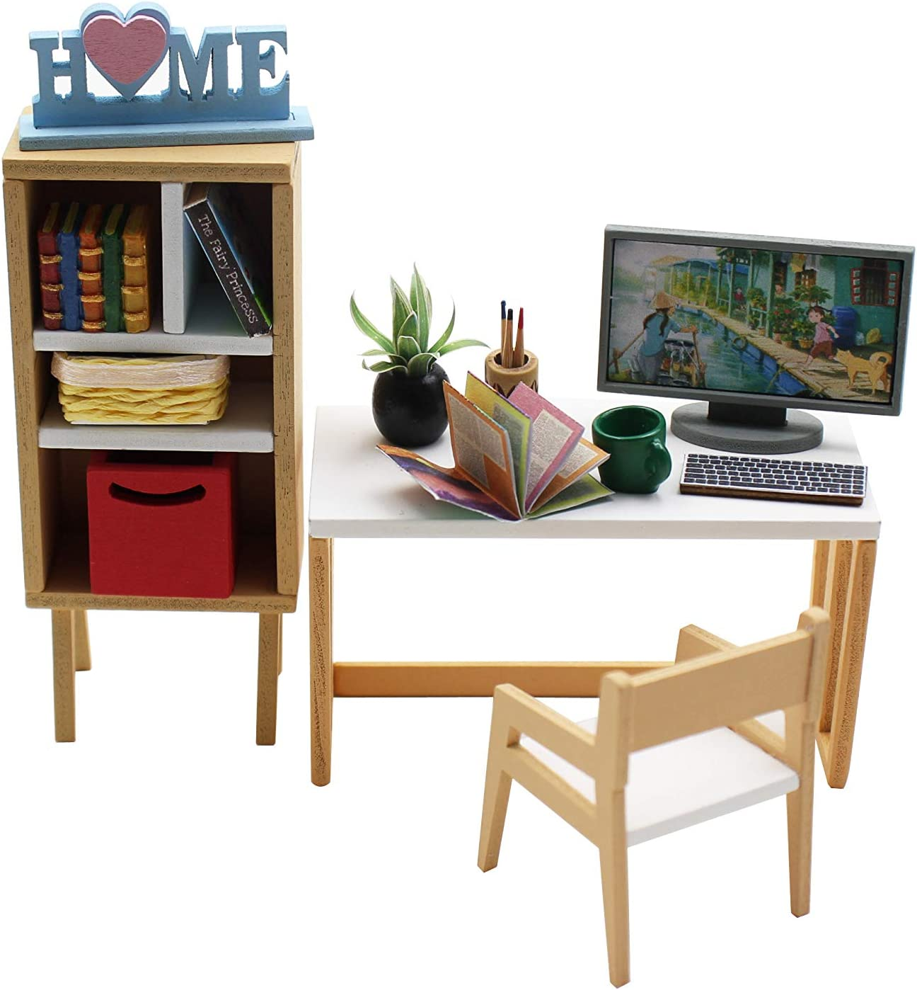 1:18 Cool Beans Boutique Miniature Dollhouse Furniture DIY Kit – Workstation Set with Computer, Desk, Chair, and Bookcase – 1:18 Scale Miniature Furniture (English Manual) 1181035