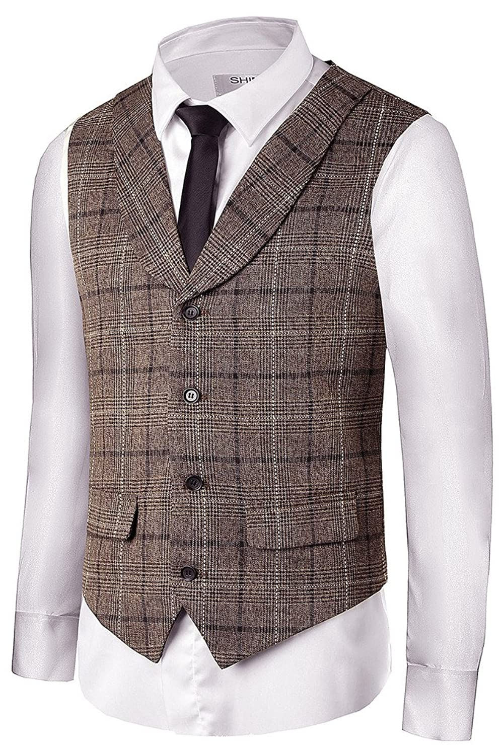 1930s Men's Costumes: Gangster, Clyde Barrow, Mummy, Dracula, Frankenstein Hanayome Mens Gentleman Top Design Casual Waistcoat Business Suit Vest VS17 $28.50 AT vintagedancer.com