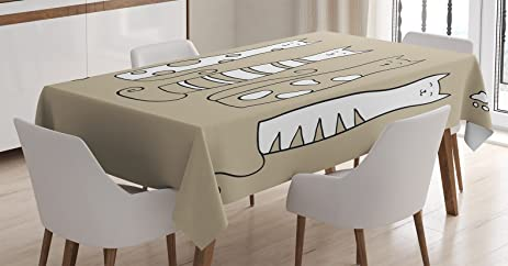 Cat Lover Decor Tablecloth By Ambesonne, Contemporary Graphic Of 5 Standing  Cats Lovely Meow Character