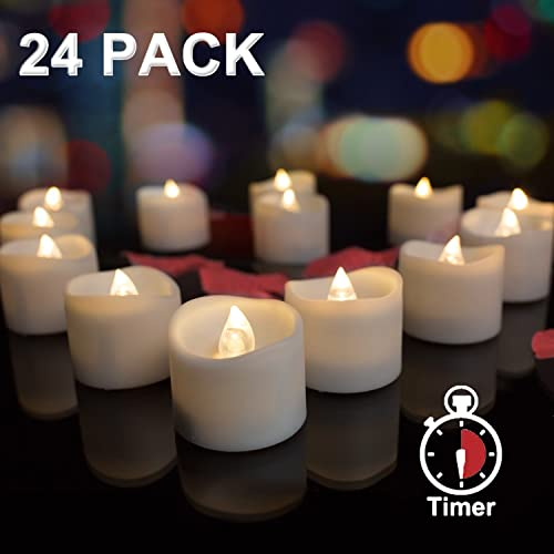 AMAGIC 24 Pack LED Tea Lights Battery Operated Flameless Candles with Timer, Flickering TeaLights for Halloween Pumpkin Decor, 6 Hours on and 18 Hours Off, 1.4 x 1.25 Inch, Warm White Flame, Wave Open