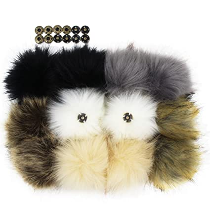 d5aaf7d5743 Amazon.com  12pcs Faux Fox Fur Pom Pom with Press Button Removable Knitting  Hat Accessories