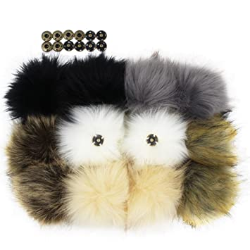 4c62290efe7b7 12pcs Faux Fox Fur Pom Pom with Press Button Removable Knitting Hat  Accessories  Amazon.ca  Home   Kitchen