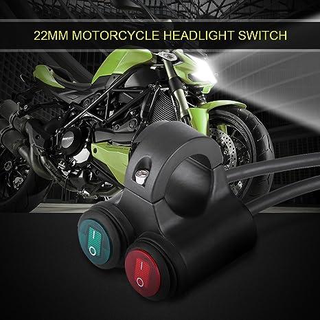 Keenso Motorradlenker Tastenschalter Universal 22mm Motorrad Scheinwerfer Bremse Nebelscheinwerfer Horn Doppelknopfschalter Type D Auto