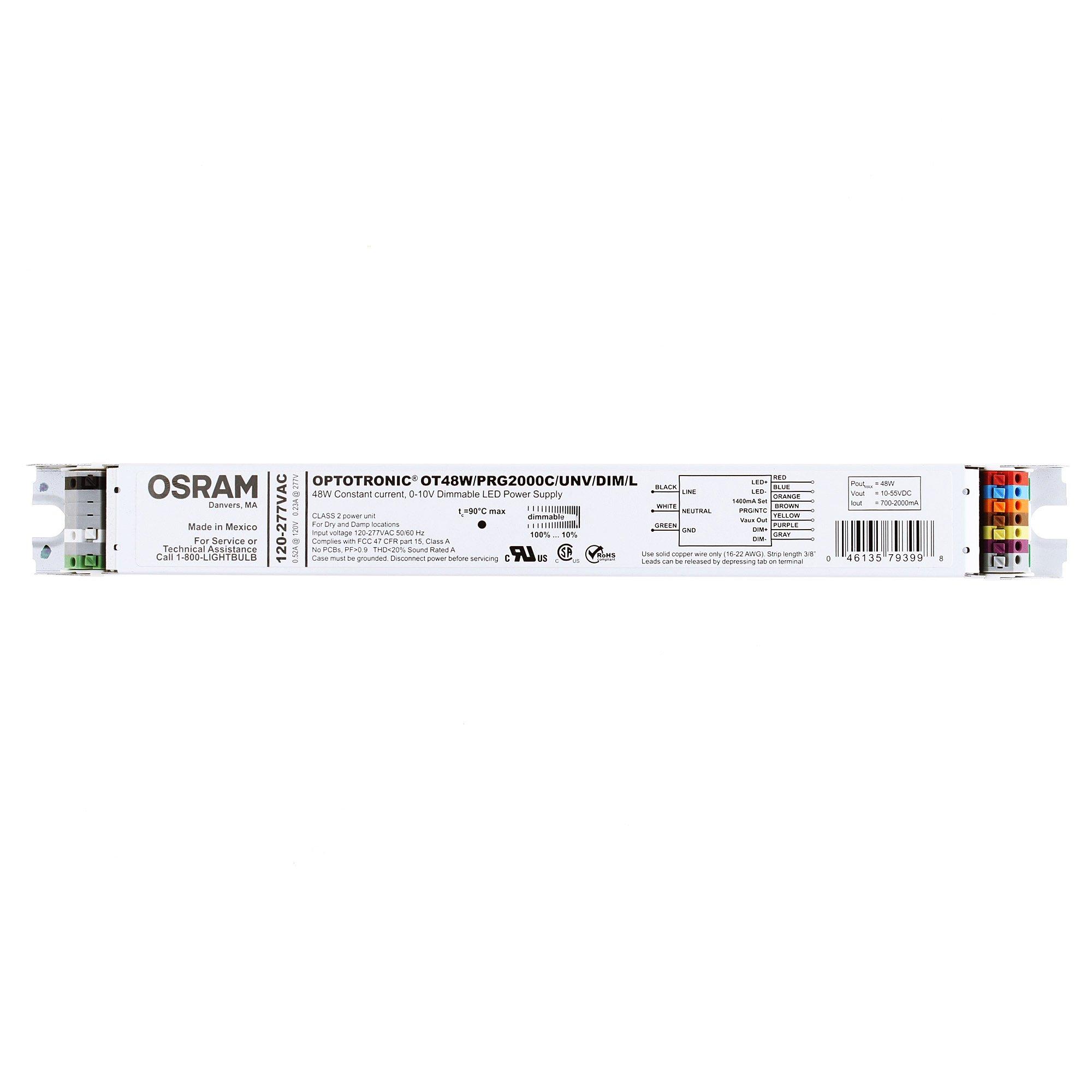 Sylvania 79399 - 48 Watt 120/277 Volt Dimmable LED Power Supply (OT48W/PRG2000C/UNV/DIM/L AUX)
