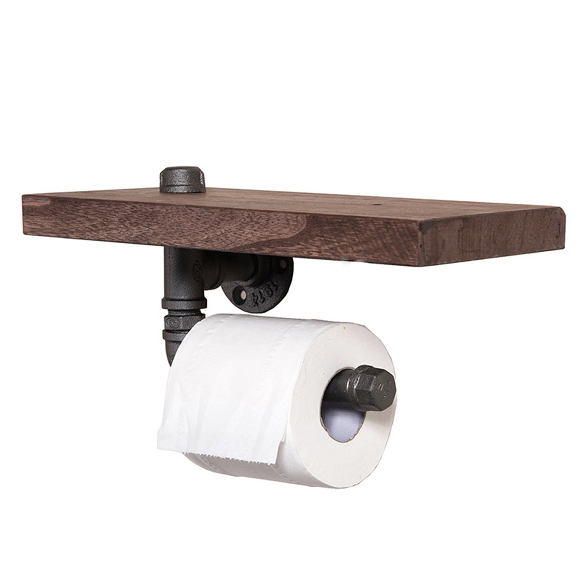 Industrial Toilet Paper Holder with Wooden Shelf or Stainless steel,Toilet Tissue Roll Holder,Rustic Style Water Pipe Wall Mounted,Fashion Display Shelves With Instructions (Holder 01)