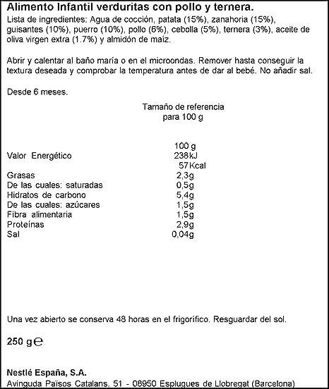 NESTLÉ Purés Tarrito de puré de verduras y carne, variedad Verduritas con Pollo y Ternera - Para bebés a partir de 6 meses - Tarrito de 250g