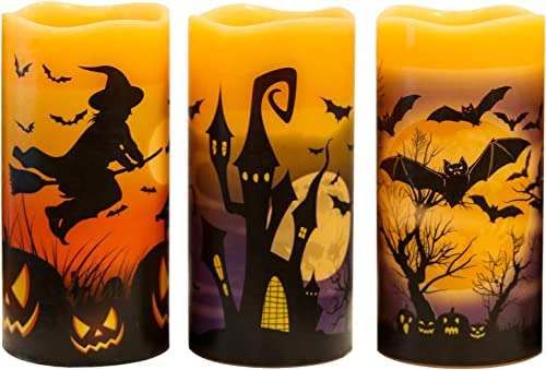 GenSwin Halloween Battery Flameless Candles with 6 Hour Timer, Real Wax Flickering LED Candles Set of 3 Bats, Castle, Witch Decal for Halloween Home Decoration Gifts 3 x 6 Inch