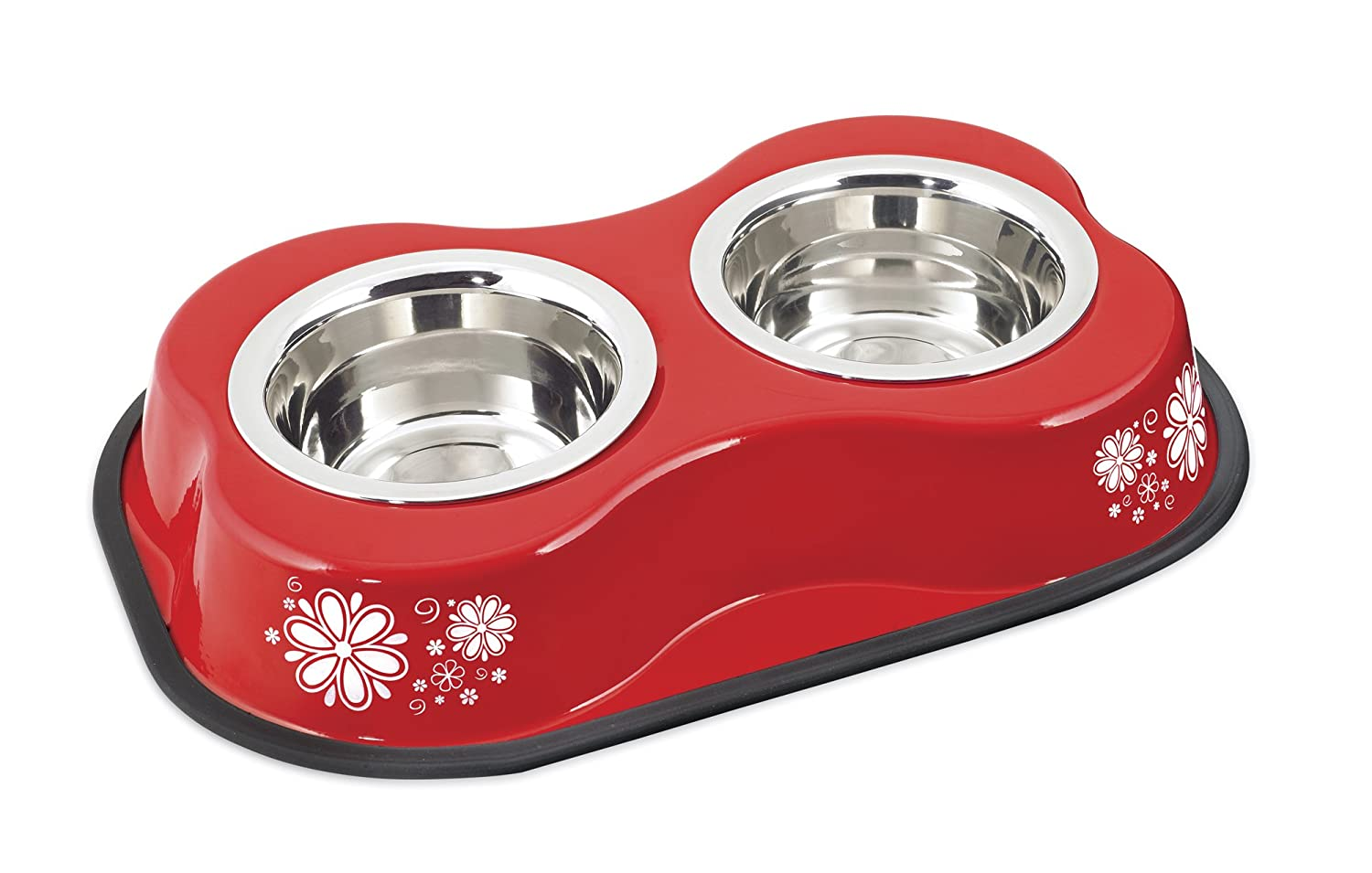 Bone Shaped Double Diner W 2 1pt Stainless Steel Bowls, Flower Pattern Red