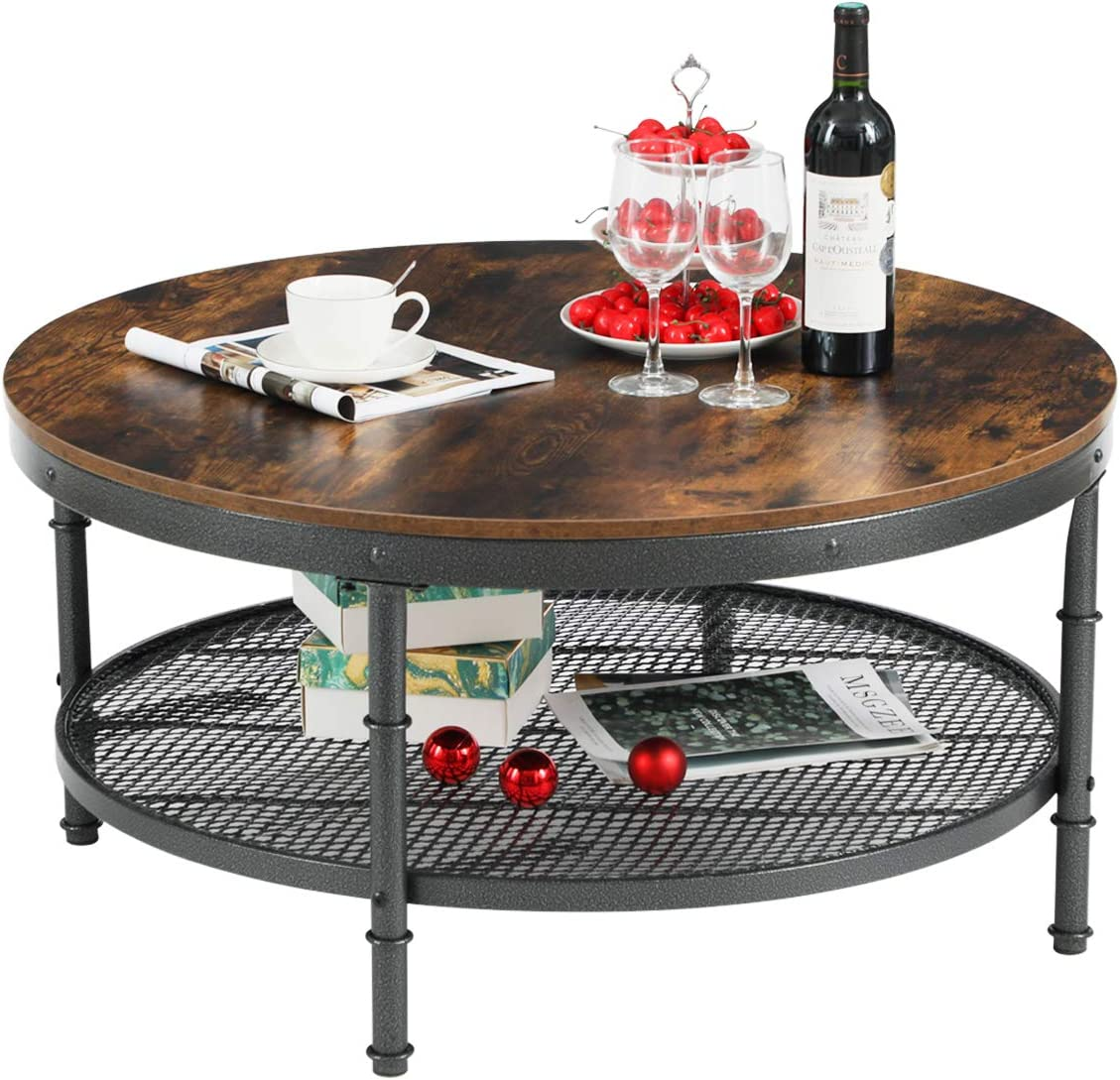 GreenForest 35.8 Round Coffee Table 2-Tier Cocktail Table with Storage Steel Mesh Shelf, Industrial Accent Table with Metal Frame for Living Room, Rustic Brown