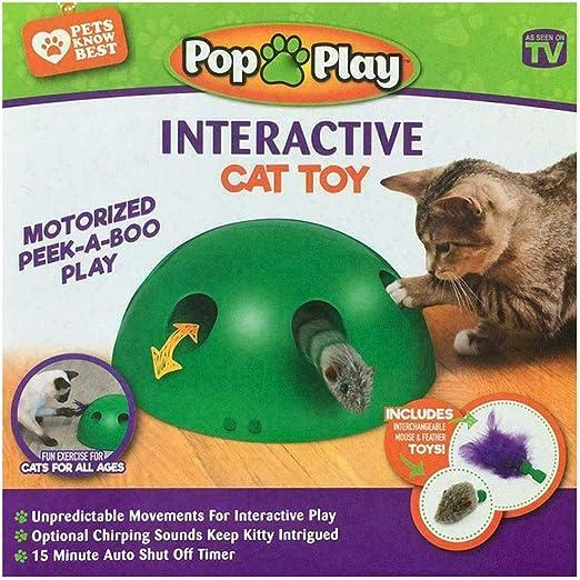 UTOPIAY Juguete para Gatos, Verde Cat Interactive Motion Juguetes Electrónicos para Mascotas con Juego Automático Redondo con Ratón Giratorio de Plumas: Amazon.es: Hogar