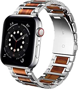 Miimall Compatible Apple Watch 42mm 44mm Band Natural Wood Genuine Red Sandalwood Stainless Steel Metal Bracelet Wristband Strap for Apple Watch Series SE/6/5/4/3/2/1 42mm 44mm(Silver&Red Sandalwood)