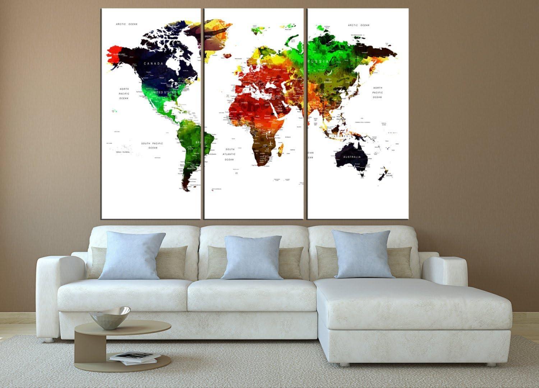 Amazon.com ArtCanvasShop Push pin World map Wall Art, Large Wall ...