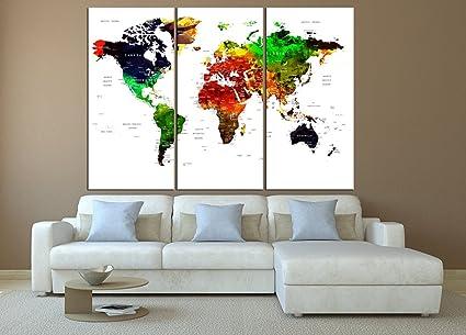 Map Of World Wall Art.Amazon Com Push Pin World Map Wall Art Large Wall Art Push Pin