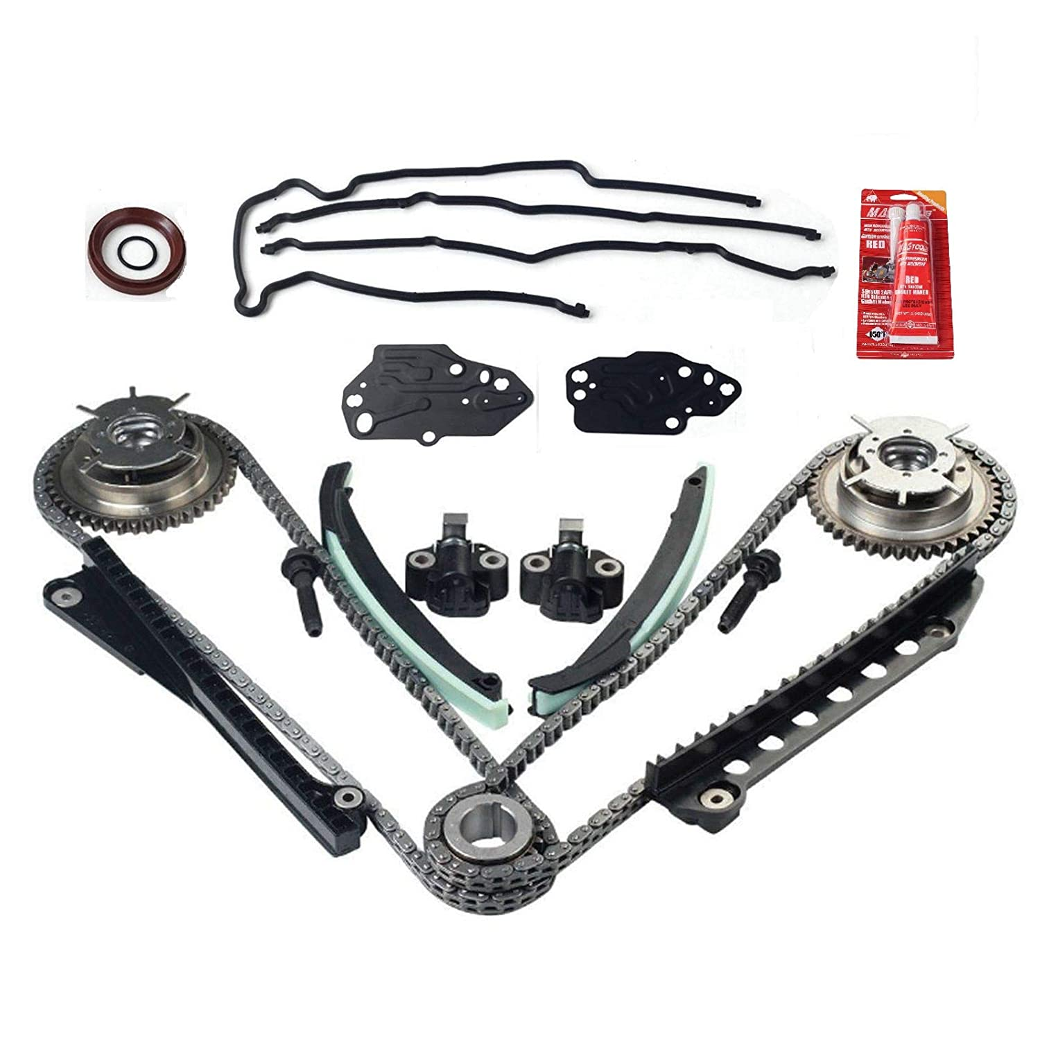 Timing Chain Cam Phaser & Cover Gasket Kit Fit for 04-08 Ford F150 Lincoln 5.4 Triton 3V V8 yjracing