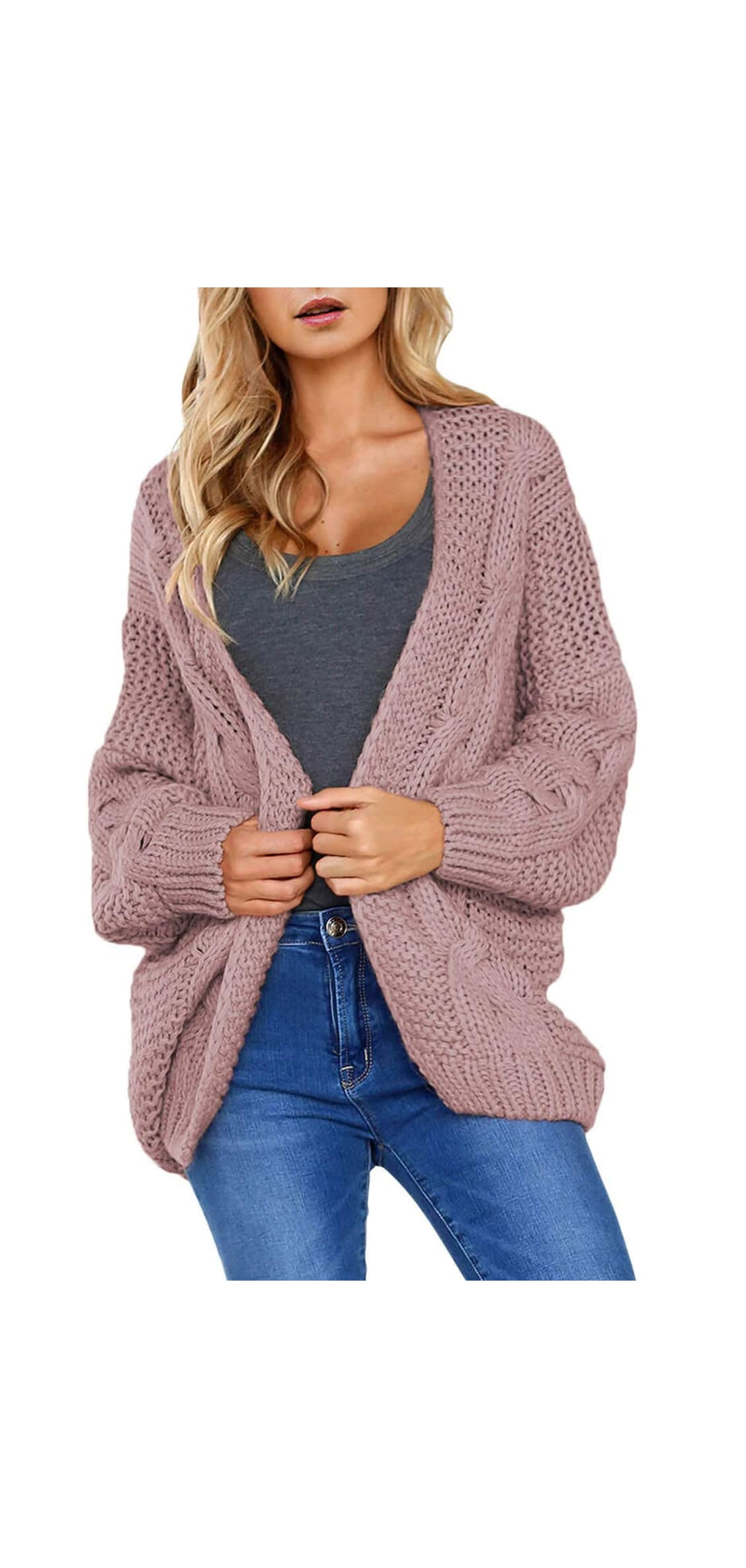 Womens Open Front Long Sleeve Thin Knit Cardigan Sweater
