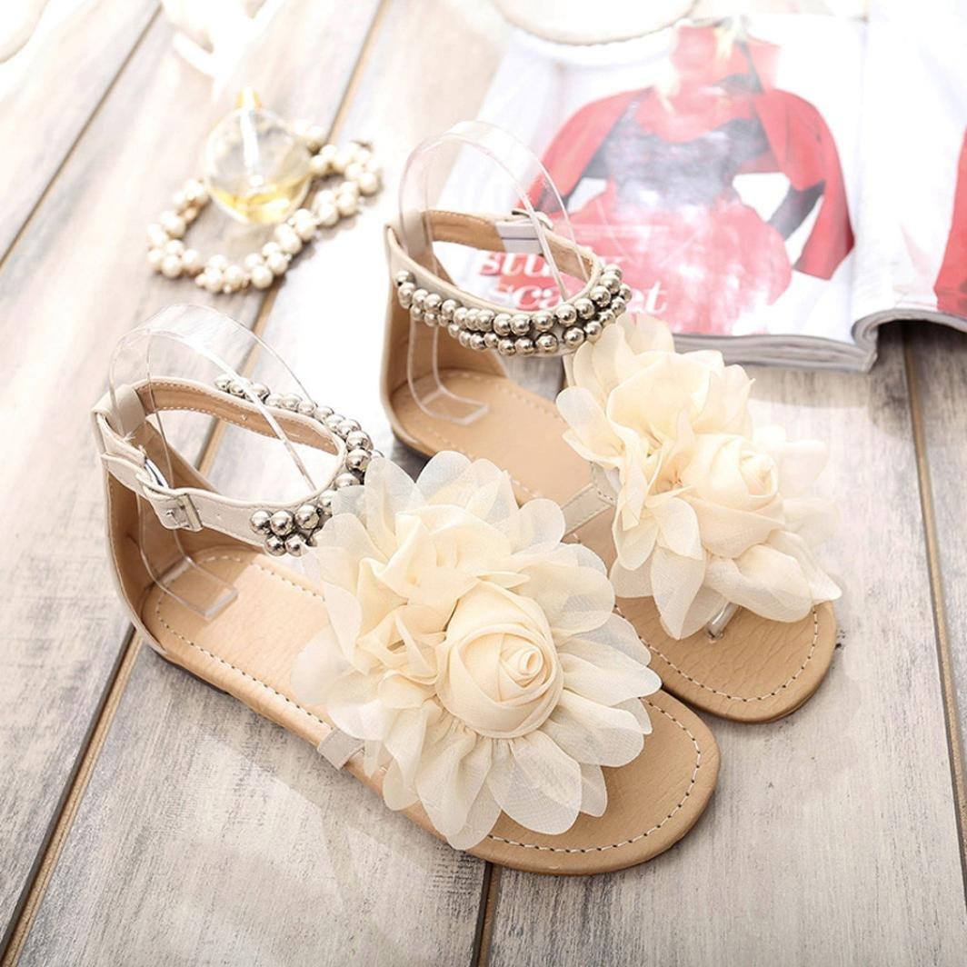 Sandals, UPLOTER Women Bohemian Style Beaded Summer Flower Sweet Flat Flip Flops Shoes Sweet Flower Sandals B072L2S3ZX 10 B(M) US Beige 5ac71d