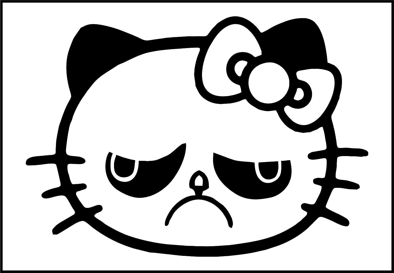 Grumpy Hello Kitty Car//Bike//Window//Wall//Laptop Vinyl Decal Sticker