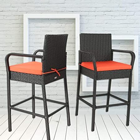 Leaptime Outdoor Rattan Chair Patio Rattan Bar Stool Set Garden Furniture Black Wicker Bar Chair with Orange Cushions Set of 2