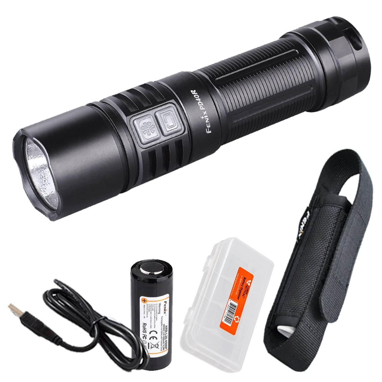 2017 New Version Fenix PD40R 3000 Lumen USB Rechargeable LED Tactical Flashlight w/ High Capacity 4500 mAh 26650 Battery and LumenTac Battery Organizer