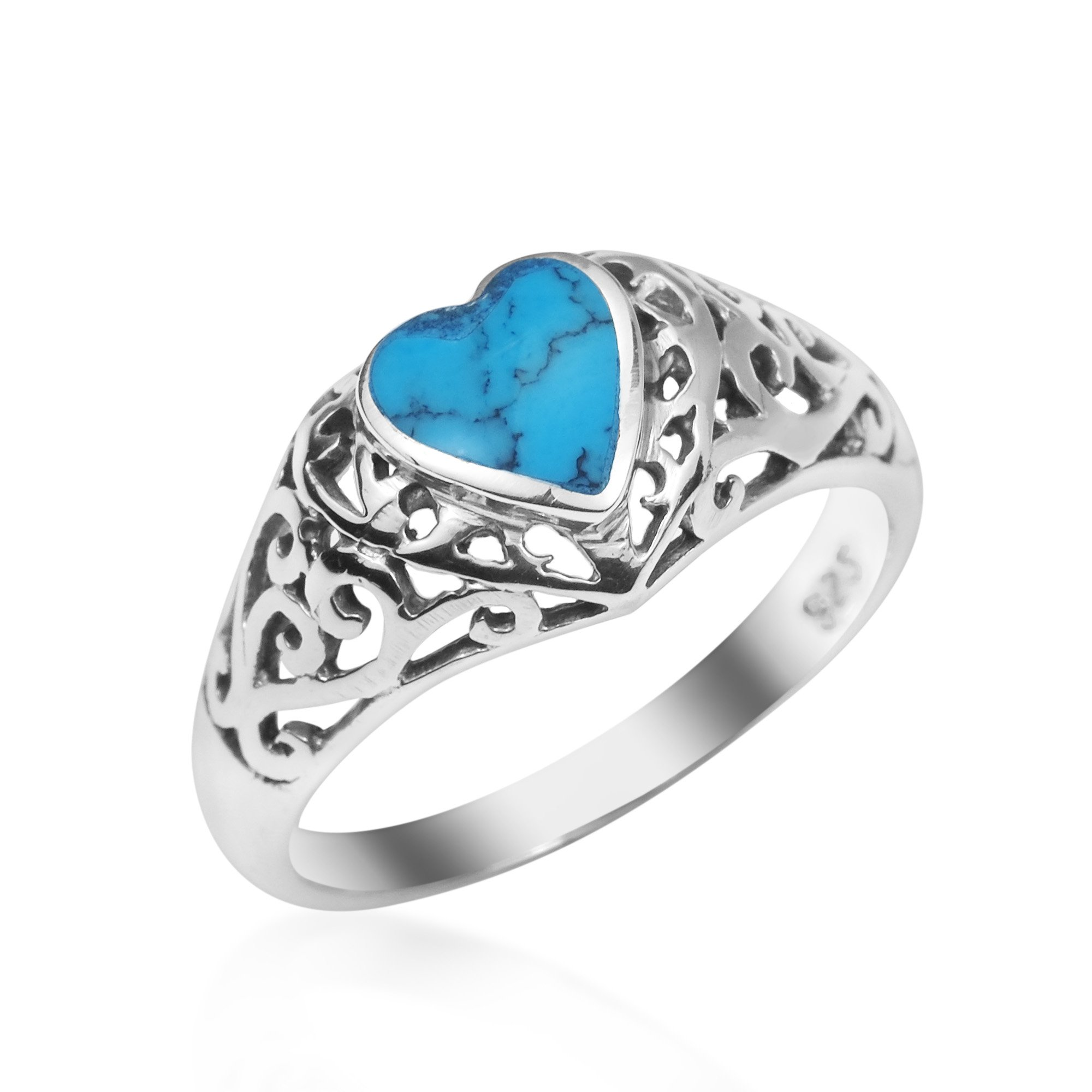 AeraVida True Devotion Simulated Turquoise Heart .925 Sterling Silver Ring (9)