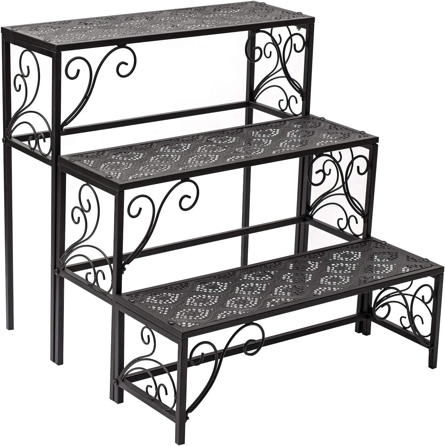 Donosura Potted Plant Stand Stair Plant Holder Outdoor Pot Flower Ladder Rack Nesting Stands Set of 3 Tier Display Furniture for Outside Garden Patio Balcony Adjustable Legs, Metal, Black