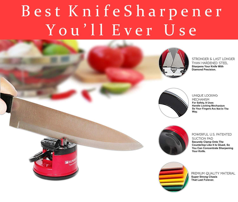 SunrisePro Supreme Knife Sharpener for all Blade Types | Razor Sharp Precision & Perfect Calibration | Easy & Safe to Use | Ideal for Kitchen, ...