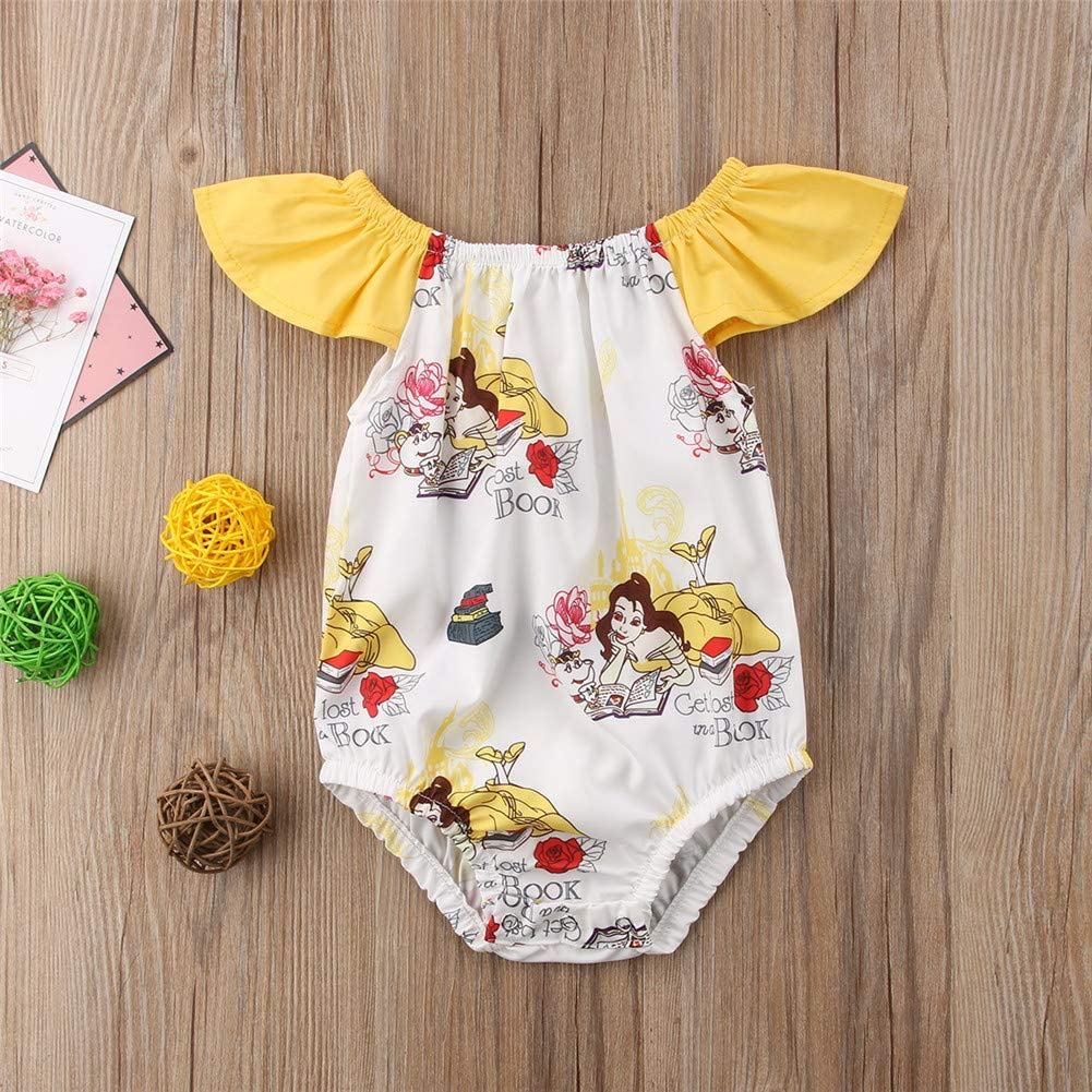 N //A Newborn Baby Girls Beauty and The Beast Ruffle Sleeve Romper Bodysuit Jumpsuit Outfts Clothes