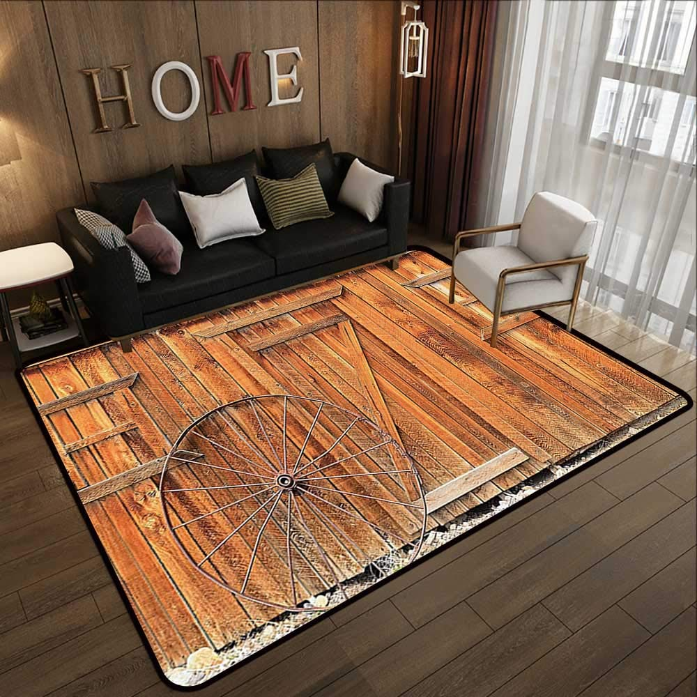 Pattern01 47 x 71 (W120cm x L180cm) Modern Area Rug with Non-Skid,Western Decor Collection,Rustic Wild West Swinging Wooden Cowboy Bar Saloon Door Image,Brown Peru 63 x 94  Indoor Super Absorbs Doormat