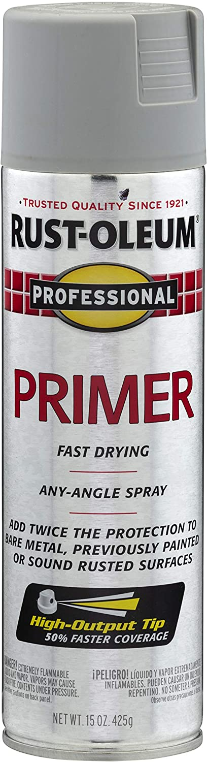 Rust-Oleum 7582838 Professional Primer Spray Paint, 15 oz, Gray Primer