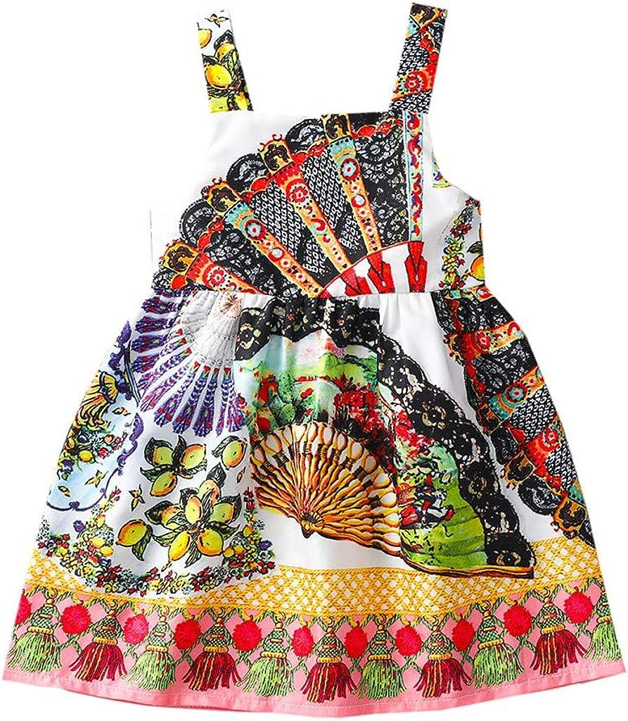 Vestido Casual NiñA Vestido Sin Mangas Estampado De Estilo éTnico Africano De Verano Sin Posicionamiento Mezcla De AlgodóN Vestido De Fiesta Princesa Moda Lindo Nuevo 2020 Regalo De CumpleañOs