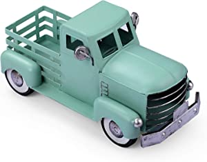 Giftchy Vintage Easter Truck Décor, Farmhouse Turquoise Truck Spring Decoration, Decorative Tabletop Storage & Pick-up Metal Truck Planter