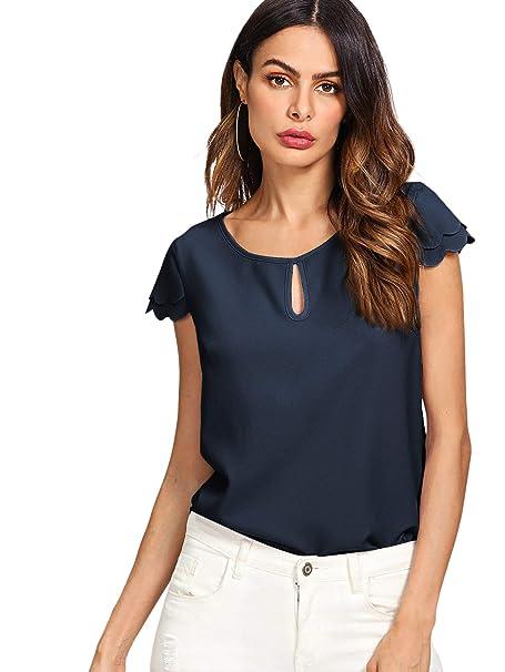 9cd10d391448f MAKEMECHIC Women s Casual Plain Scallop Cutout Cap Sleeve Blouse Top 1-Navy  XS