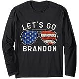 Let's Go Brandon American Flag Sunglasses Long Sleeve T-Shirt