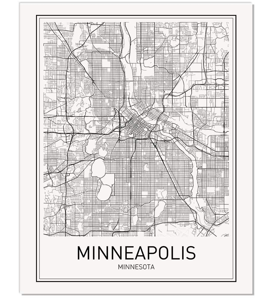 Minneapolis Poster Map of Minneapolis Minneapolis Map City Map Posters Modern Map Art City Prints Minneapolis Art Minimal Print City Poster City Map Wall Art Minimalist Posters 8x10