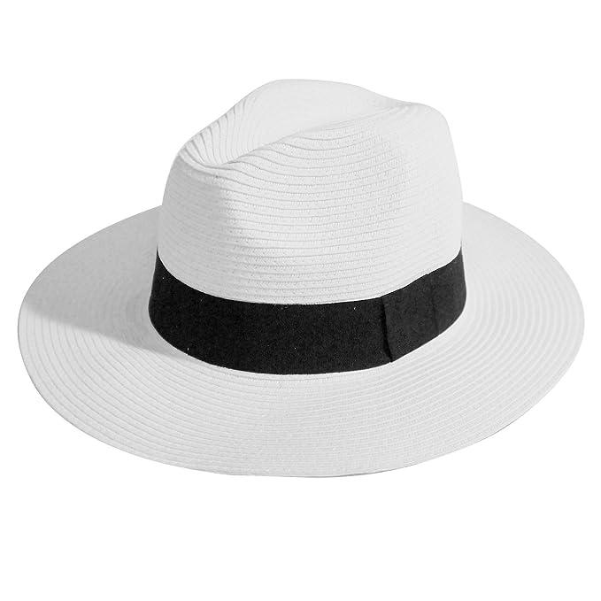 Amazon.com: Sombrero de paja de Panamá de tamaño ajustable ...