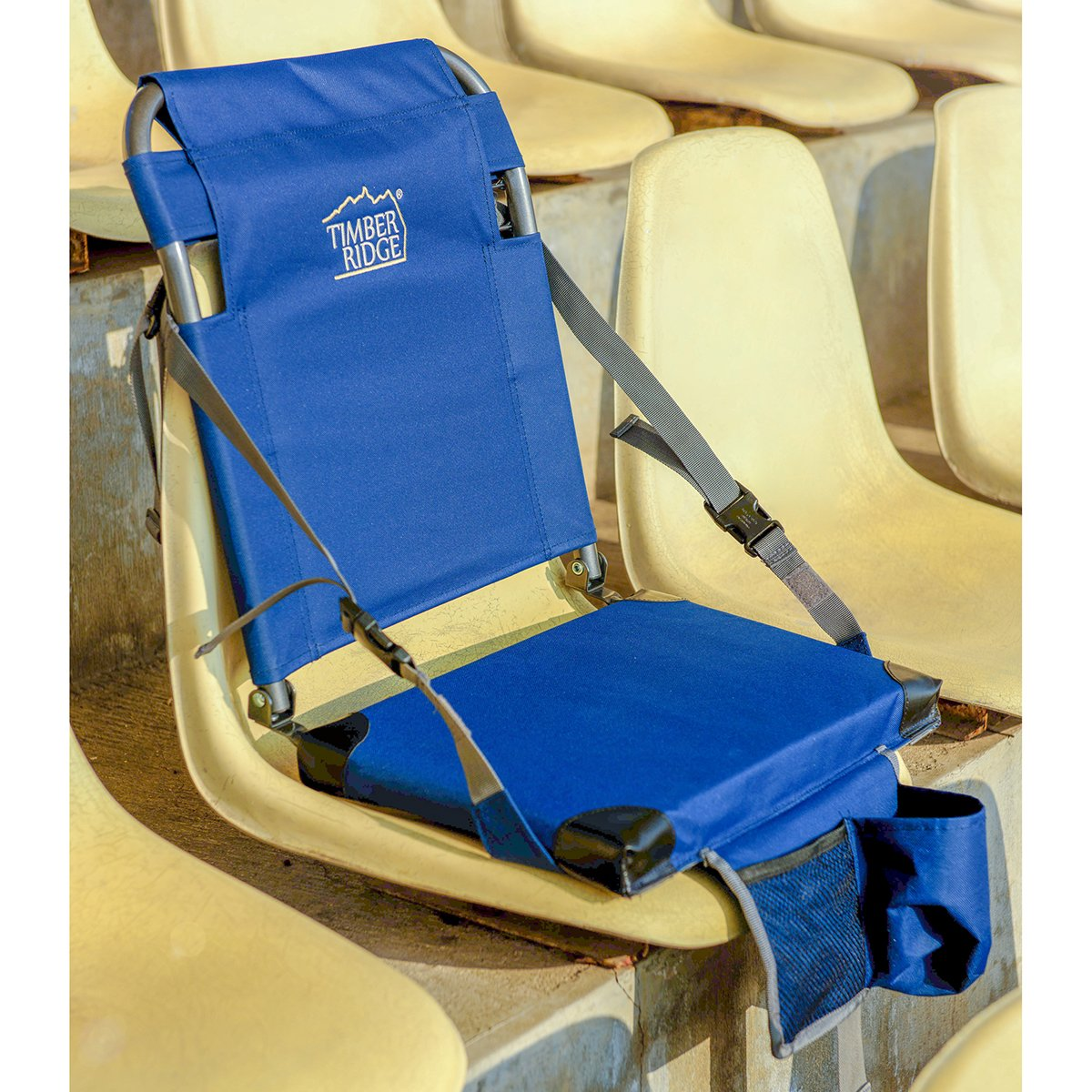 Timber Ridge Stadium Seat for Bleachers Camping Grandstand Chair Cushions Padded Portable with Carry Strap Reclining Back Easy Folding Lightweight for Benches Weekender