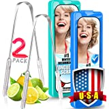 Tongue Scraper For Adults, [ 2 Pack ] Surgical Metal Tongue Scrappers with Travel Case, Flexible Stainless Steel Tounge Scrap