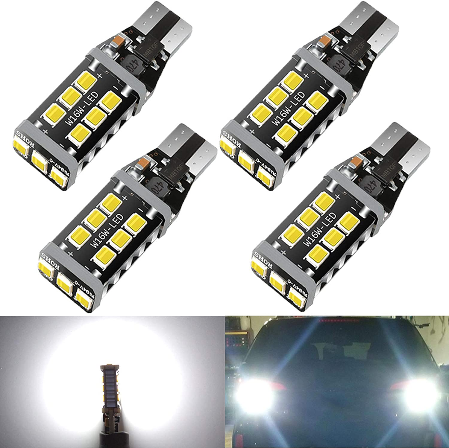 4x W16W T15 921 Rear 15 SMD LED Canbus REVERSE WHITE Lamps Light Bulbs 6000K
