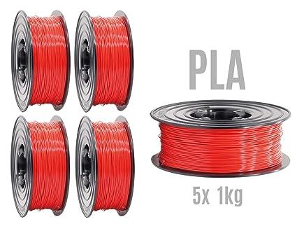 Filamento PLA para impresora 3D, 1,75 mm/5 x 1 kg, rollo gris para ...